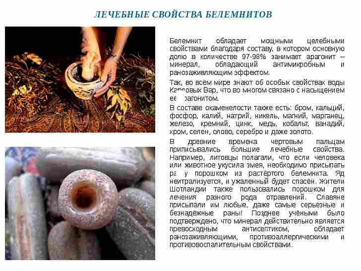 Полезные свойства белемнитов. Химический состав минералов